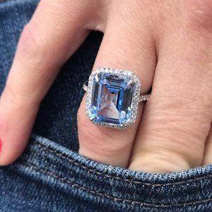 Silver Radiant Cut Aquamarine Diamond Halo Ring